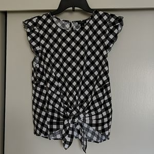 Ann Taylor front tie checked top